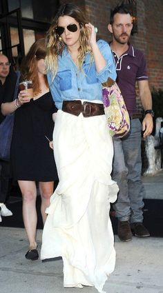 Drew Barrymore: White maxi skirt, brown belt, denim shirt