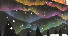grade Aurora Borealis landscapes - Laura Griffin - grade Aurora Borealis landscapes Thank goodness we live in an age where we can get inspiration from teachers all over the world! Most art teachers are alone in their bu. Aurora Borealis, Winter Art Projects, 4th Grade Art, Magritte, Art Classroom, Chalk Art, Art Club, Art Plastique, Art Activities