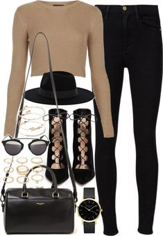 Outfit for a casual night out by ferned featuring Frame Denim Topshop white top, 63 AUD / Frame Denim jeans, 305 AUD / Gianvito Rossi heeled boots, 1 170 AUD / Yves Saint Laurent leather duffle bag, 1 965 AUD / Christian Dior jewelry, 820 AUD / Watch...