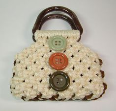 """How to make """"Little Missy"""" macrame purse. Also includes directions for other macrame projects, like belts, headbands, necklace, etc. From This Year's Dozen."""