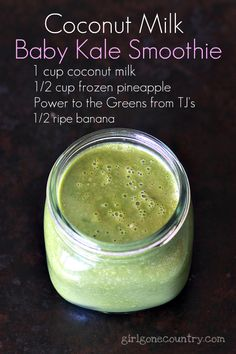Coconut Milk Baby Kale Smoothie and more of the best coconut milk smoothie recipes on MyNaturalFamily.com #smoothie