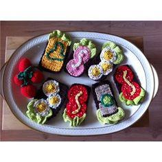 Køkken, Legemad, Hjemmelave... Crochet Cake, Crochet Food, Slik, Play Food, Acai Bowl, Treats, Toys, Breakfast, Kitchen