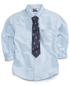 Tommy Hilfiger Kids Shirt, Little Boys Jack Oxford Shirt with Tie - Kids - Macy's