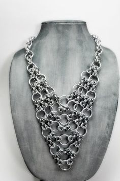 Image result for chainmaille necklace sterling with dangling stips of wire