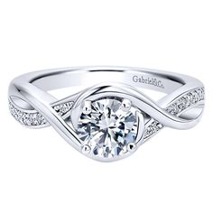 14k White Gold Contemporary Style Criss Cross Engagement Ring
