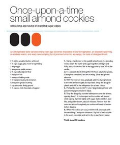 Once-upon-a-time Small Almond Cookies from Max Brenner's Love Story Recipe Book Veggie Food, Veggie Recipes, Clean Eating Recipes, Cooking Recipes, Max Brenner, Delicious Desserts, Yummy Food, Almond Cookies, Brownie Bar