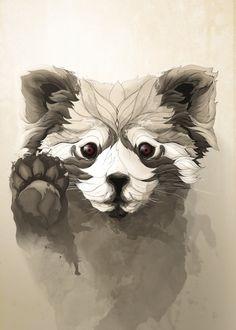 """""""Red Panda"""" metal poster by Rafapasta CG #animal"""