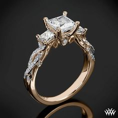 Rose Gold Verragio Twisted Shank Princess 3 Stone Engagement Ring from the Verragio Insignia Collection