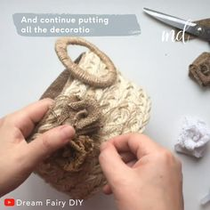 Best 11 How to make a traditional wicker basket using jute! By: Fairy DIY Diy Crafts For Home Decor, Diy Crafts Hacks, Diy Arts And Crafts, Diy Crafts Videos, Creative Crafts, Diy Craft Projects, Burlap Crafts, Fabric Crafts, Diy Para A Casa