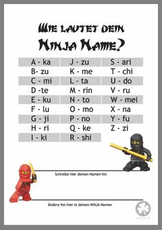 Ninja-Name - - Summer Activities For Teens, Party Activities, Ninjago Party, Lego Ninjago, Diy Gifts For Kids, Diy For Kids, Ninja Name, Pokemon Lego, Ninja Birthday Parties