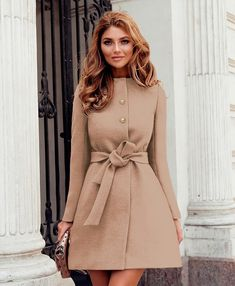 Feternal Women Elegant Round Neck Button Down Mid Length A-line Coat with Belt Long Jacket Vintage Fashion Photography, Mid Length Dresses, Girl Fashion, Womens Fashion, Long Jackets, Winter Dresses, Types Of Sleeves, Shirt Dress, Casual