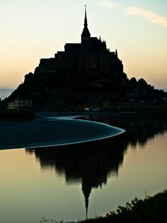 The tidal waters surrounding Mont Saint-Michel, France