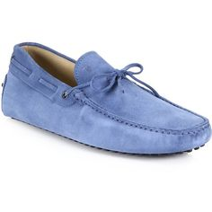 Tod's Suede Tie Drivers : Tod's Shoes (608 CAD) ❤ liked on Polyvore featuring men's fashion, men's shoes, men's loafers, apparel & accessories, blue, tods mens shoes, mens suede shoes, mens blue suede shoes and mens blue shoes