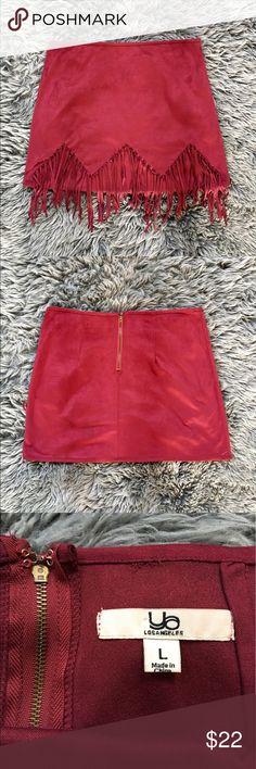 Red Suede Fringe Mini Skirt True to size Ya Los Angeles Skirts Mini