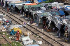 Shanty town next to the train tracks in Chittagong, Bangladesh.