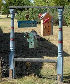 I like how you actually see birds on them. and the poles are awesome. Bird House Plans, Bird House Kits, Spindle Crafts, Bird Feeding Station, Bed With Posts, Birdhouse Designs, Bird Houses Diy, Bird Aviary, Birds And The Bees