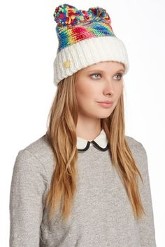 Betsey Johnson Pom Pom Party Beanie