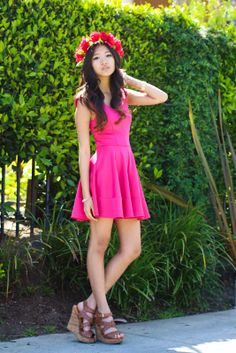 Blogger BFF Elaine Jung channels her inner flower child in this Charlotte Russe pink skater dress in her summer #OOTD! See more on ♡ Romantic Fawn ♡: Electric Rose Garden