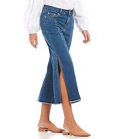 4b3bfb44b24483 Gianni Bini Stef Cropped Frayed Hem Split Wide Leg Culotte Jean Image  Cropped Wide Leg Jeans