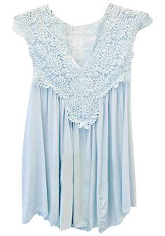 Front view of blue lace cap sleeve top