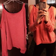Orange long sleeve shoulder cut off sweater Simple and pretty. Forever 21 Sweaters