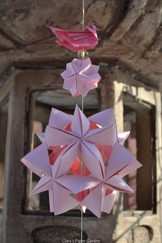 pink kusudama and little origami bird