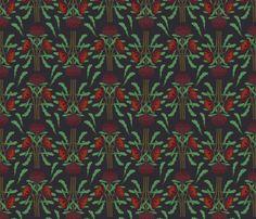 Dark red waratahs on dark gray fabric by su_g on Spoonflower - custom fabric