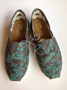Branching out-hand painted on TOMS shoes-made to order-cutomize the colors. $110.00, via Etsy.