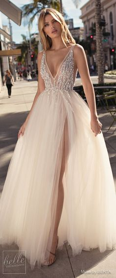 MUSE by BERTA Spring 2019 Wedding Dresses - City of Angels Bridal Collection | Ball gown wedding dress for the Disney princess bride | Dream bridal gown with tulle skirt and deep-v neckline | Non-strapless romantic bridal dress | #weddingdress #weddingdresses #bridalgown #bridal #bridalgowns #weddinggown #bridetobe #weddings #bride #weddinginspiration #weddingideas #bridalcollection #bridaldress #fashion #dress See more gorgeous bridal gowns by clicking on the photo