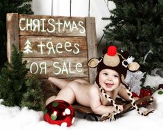 Baby Rudolph Reindeer Earflap Hat - Crochet Newborn Beanie Boy Girl Costume Christmas  Photo Prop Cap Winter Outfit on Etsy, $28.56 CAD