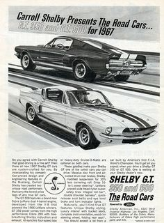 1967 Ford Mustang Shelby GT350 and GT500.