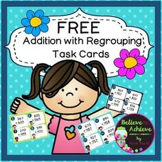 FREE! 3 Digit Addition with Regrouping (24 Task cards)  This is a colorful set of 24 task cards to give students practice on three digit addition with regrouping.This set is a wonderful addition to your lessons! Great way for students to practice this adding skill! I've included a recording sheet and answer key, too!