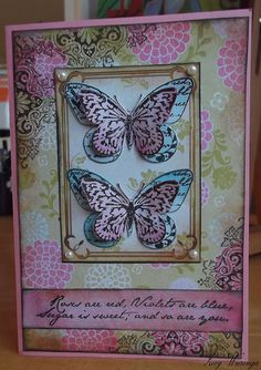 Butterfly card. the background and colors are gorgeous!