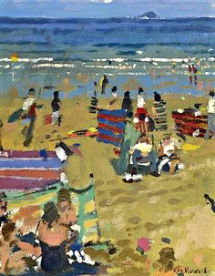 """Dora at Oriel, Spring Ken Howard. """"For me painting is about three things. It is about revelation, communication and celebratio. Abstract Landscape Painting, Landscape Paintings, Landscapes, Paintings I Love, Beach Paintings, Oil Paintings, English Artists, Pastel, Beach Scenes"""