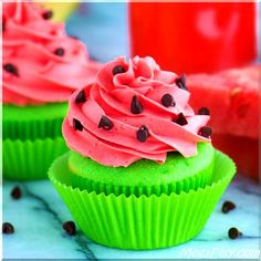 Watermelon Cupcakes! Bright green cupcakes with buttercream that tastes like watermelon! Add mini chocolate chips for seeds!