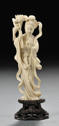 Ivory Figure, China, standing figure of Kuan Yin holding a lotus blossom and peach, with stand, ht. Buddha Buddhism, Buddhist Art, Le Morse, Guanyin, Ivoire, Stone Carving, Chinese Art, Japanese Art, Asian Art