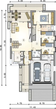 Bungalow House Design, Small House Design, Atrium, Store Plan, House Plans One Story, Modern House Plans, Design Case, Plan Design, Interior Design Kitchen