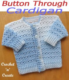 Babies-Children - Free Crochet Patterns on Crochet 'n' Create Crochet Baby Cardigan Free Pattern, Crochet Baby Sweaters, Newborn Crochet Patterns, Baby Sweater Patterns, Crochet Baby Clothes, Crochet Bebe, Crochet For Boys, Free Crochet, Crochet Hooks