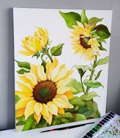 Happy work with sunflowers ◇ Sunflower ◇ Paper Sunflower Drawing, Watercolor Sunflower, Sunflower Art, Watercolor Flowers, Sunflower Paintings, Acrylic Painting Canvas, Acrylic Art, Canvas Art, Painting & Drawing