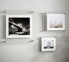 Acrylic Gallery Frames #potterybarn  Getting one of each size would finish of my bathroom nicely.