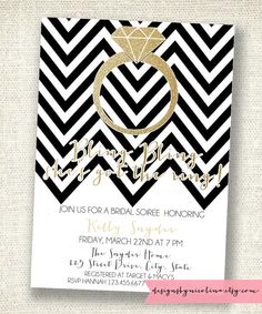 Chevron and Gold Glitter  Bling Bling  Bridal Shower by designsbynicolina, $12.00