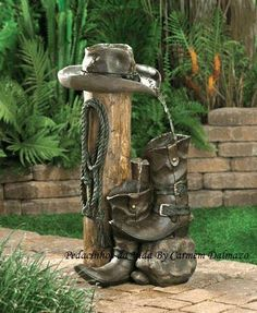 Rustic Wild Western Cowboy Ranch Water Garden Fountain Who says that fountains have to be frilly? This ranch-style accent is loaded with authentic cowboy styling for a delightfully different take on garden decor. Indoor Outdoor, Outdoor Gardens, Outdoor Living, Western Theme, Western Cowboy, Western Style, Western Wild, Cowboy Theme, Western Boots