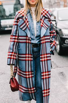 The 'double denim' is finished with a checkered coat