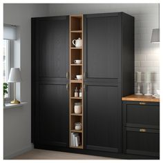 IKEA - VADHOLMA Open storage brown, stained ash good for gaps in cabinetry Diy Kitchen Storage, Kitchen Cabinet Organization, Tall Cabinet Storage, Locker Storage, Kitchen Decor, Kitchen Island, Ikea Kitchen Storage Cabinets, Open Cabinets In Kitchen, Ikea Pantry