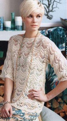 Пуловер с узором Волны Crochet Woman, Diy Crochet, Crochet Top, Thread Crochet, Beautiful Crochet, Crochet Clothes, Crochet Designs, Crochet Patterns, Irish Lace
