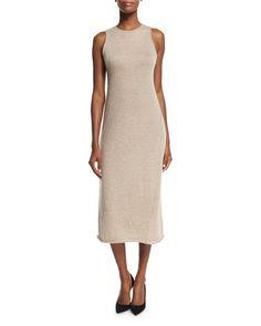 W0BC2 THE ROW Kira Sleeveless Cashmere Midi Dress, Alabaster Melange