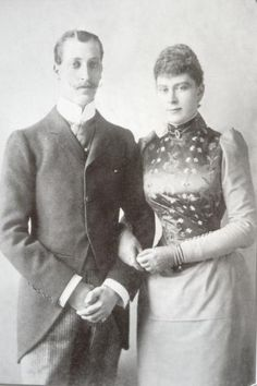 An engagement photo of Prince Albert Victor and Princess May of Teck. She would later marry his younger brother after his death and become Queen Mary of the United Kingdom. 1892.
