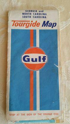 1974 Gulf Gas & Oil  Georgia-North & South Carolina road map Art Man Cave Garage #GulfOil