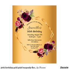 30th birthday gold pink burgundy floral invitation postcard Postcard Wedding Invitation, Gold Invitations, Floral Invitation, Bridal Shower Invitations, Custom Invitations, Birthday Invitations, Invitation Ideas, 90th Birthday Parties, 50th Birthday Party For Women