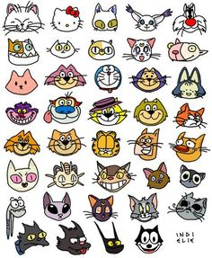 Famous Cats! (although I would have included B. Kliban Cat, Snagglepuss, Pink Panther. and Heathcliff, the ARISTOCATS, among a few others):